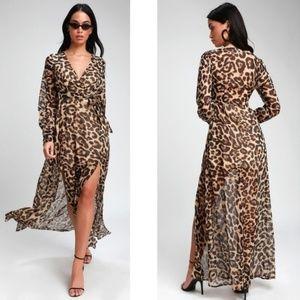 NEW Lulu's Sexy Brown Leopard Print Maxi Dress XS
